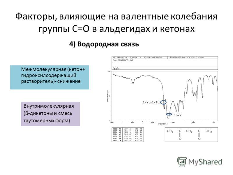 Межмолекулярная (кетон+ гидроксилсодержащий растворитель)- снижение Внутримолекулярная (β-дикетоны и смесь таутомерных форм) Факторы, влияющие на валентные колебания группы С=О в альдегидах и кетонах 4) Водородная связь 1622 1729-1710
