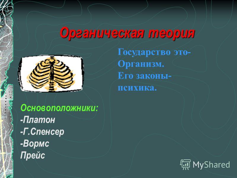 Органическая теория Основоположники: -Платон -Г.Спенсер -Вормс Прейс Государство это- Организм. Его законы- психика.