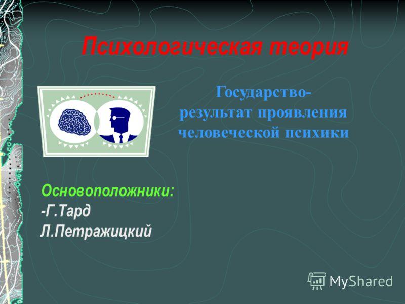 Государство- результат проявления человеческой психики Психологическая теория Основоположники: -Г.Тард Л.Петражицкий