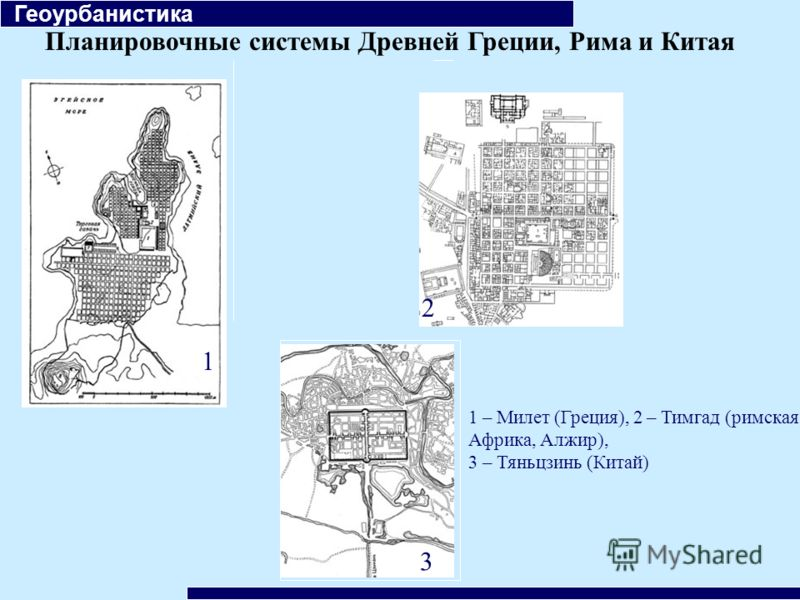Планировочные системы Древней Греции, Рима и Китая Геоурбанистика 1 2 3 1 – Милет (Греция), 2 – Тимгад (римская Африка, Алжир), 3 – Тяньцзинь (Китай)