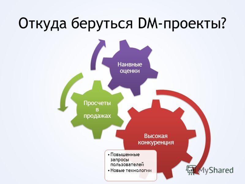 Откуда берутся DM-проекты? Высокая конкуренция Повышенные запросы пользователей Новые технологии Просчеты в продажах Наивные оценки