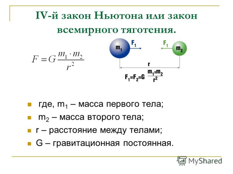 где, m 1 – масса первого тела; m 2 – масса второго тела; r – расстояние между телами; G – гравитационная постоянная. IV-й закон Ньютона или закон всемирного тяготения.