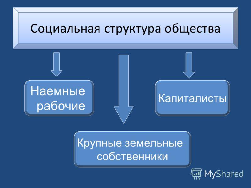 Социальная структура общества Наемные рабочие Капиталисты Крупные земельные собственники