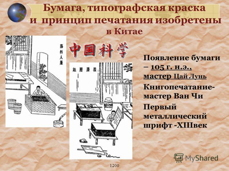 1200 Появление бумаги – 105 г. н.э., мастер Цай Лунь Книгопечатание- мастер Ван Чи Первый металлический шрифт -XIIIвек Бумага, типографская краска и принцип печатания изобретены в Китае