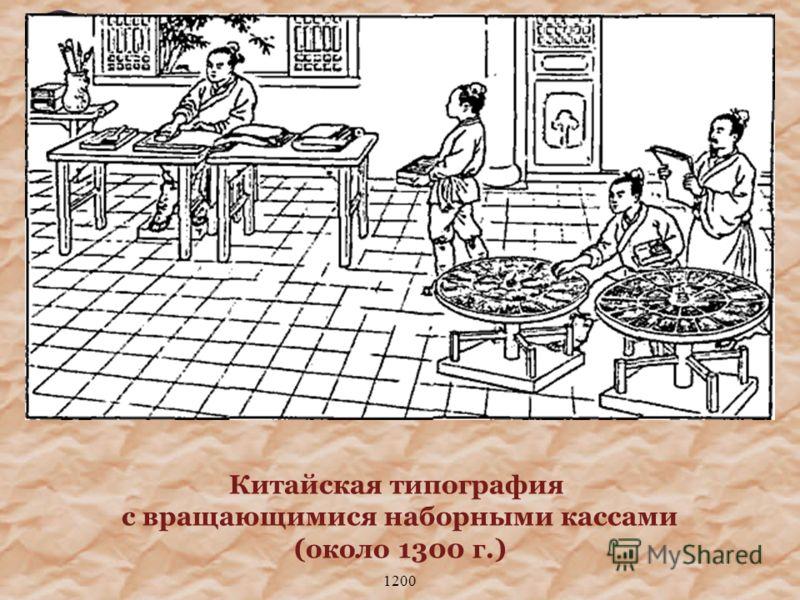 1200 Китайская типография с вращающимися наборными кассами (около 1300 г.)