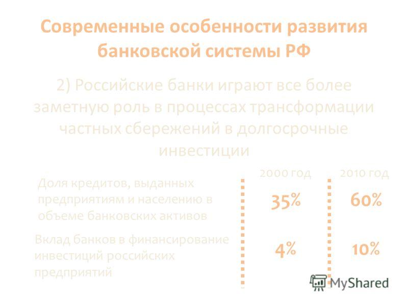 Современные особенности развития банковской системы РФ 2) Российские банки играют все более заметную роль в процессах трансформации частных сбережений в долгосрочные инвестиции Доля кредитов, выданных предприятиям и населению в объеме банковских акти