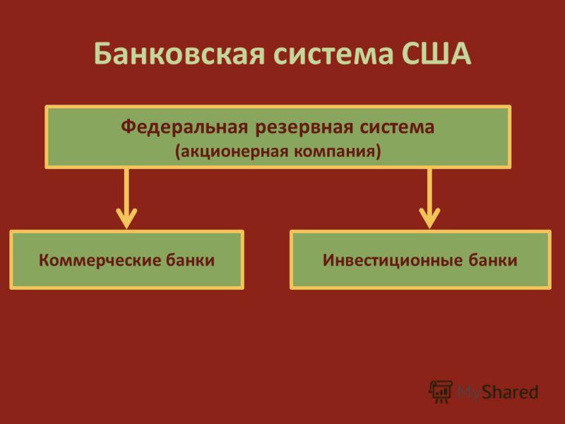 Банковская система США Инвестиционные банки Федеральная резервная система (акционерная компания) Коммерческие банки