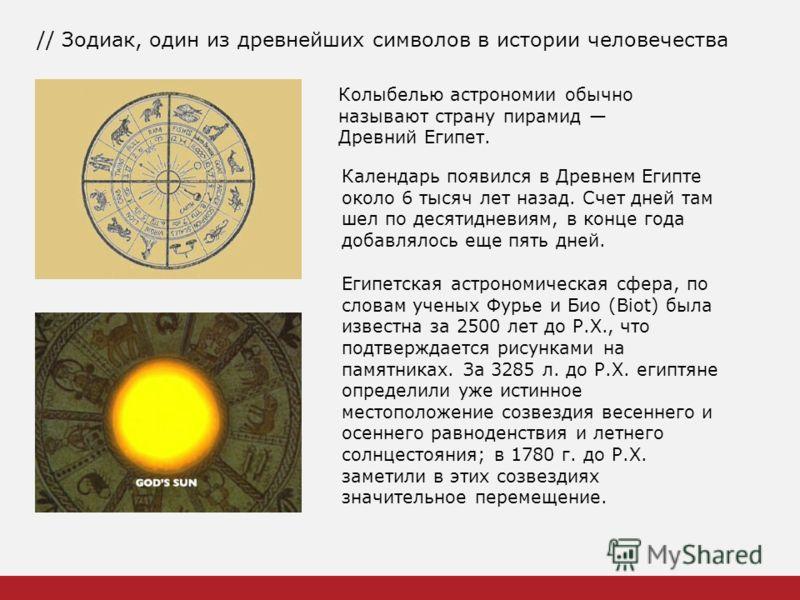 // Зодиак, один из древнейших символов в истории человечества Колыбелью астрономии обычно называют страну пирамид Древний Египет. Календарь появился в Древнем Египте около 6 тысяч лет назад. Счет дней там шел по десятидневиям, в конце года добавлялос