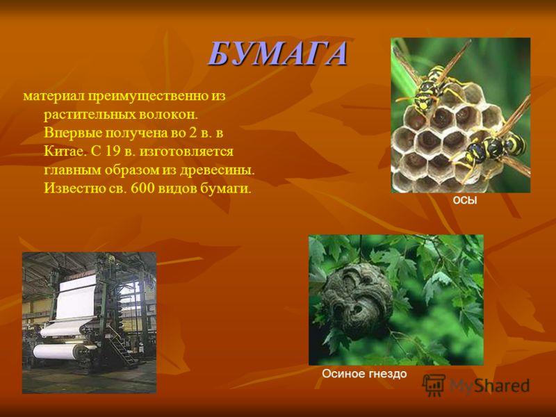 БУМАГА материал преимущественно из растительных волокон. Впервые получена во 2 в. в Китае. С 19 в. изготовляется главным образом из древесины. Известно св. 600 видов бумаги. Осиное гнездо осы