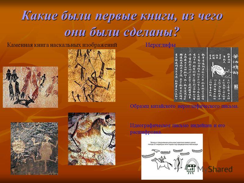 Какие были первые книги, из чего они были сделаны? Каменная книга наскальных изображенийИероглифы Образец китайского иероглифического письма. Идеографическое письмо индейцев и его расшифровка.