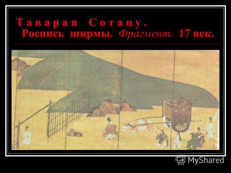 Т а в а р а я С о т а ц у. Роспись ширмы. Фрагмент. 17 век.