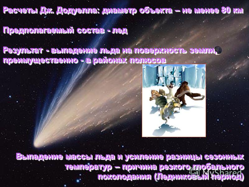 Расчеты Дж. Додуелла: диаметр объекта – не менее 80 км Предполагаемый состав - лед Результат - выпадение льда на поверхность земли, преимущественно - в районах полюсов Расчеты Дж. Додуелла: диаметр объекта – не менее 80 км Предполагаемый состав - лед