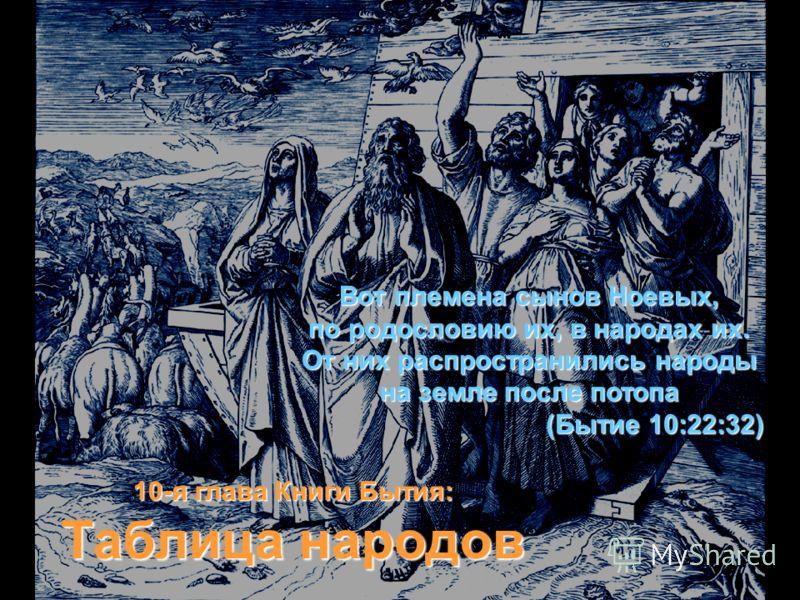 Вот племена сынов Ноевых, по родословию их, в народах их. От них распространились народы на земле после потопа (Бытие 10:22:32) 10-я глава Книги Бытия: Таблица народов