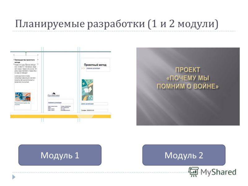 Планируемые разработки (1 и 2 модули ) Модуль 1 Модуль 2