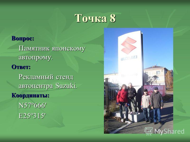 Точка 8 Вопрос: Памятник японскому автопрому. Ответ: Рекламный стенд автоцентра Suzuki. Координаты:N57º666'E25º315'