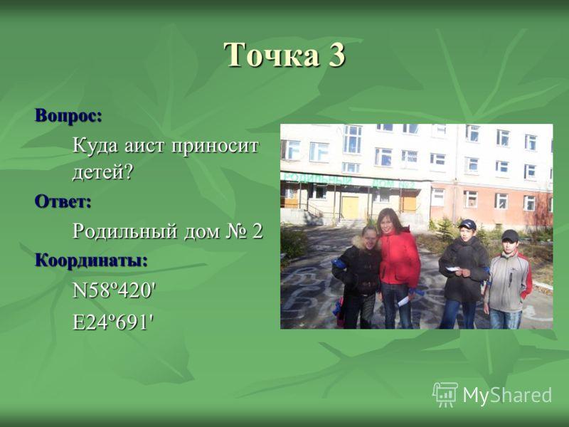 Точка 3 Вопрос: Куда аист приносит детей? Ответ: Родильный дом 2 Координаты:N58º420'E24º691'