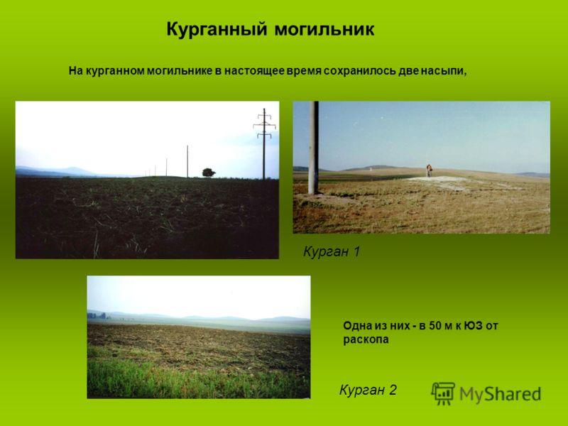 Курганный могильник Курган 1 Курган 2 На курганном могильнике в настоящее время сохранилось две насыпи, Одна из них - в 50 м к ЮЗ от раскопа