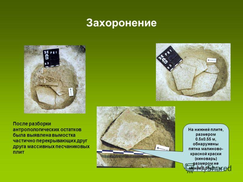 Захоронение После разборки антропологических остатков была выявлена вымостка частично перекрывающих друг друга массивных песчаниковых плит На нижней плите, размером 0.5х0.55 м, обнаружены пятна малиново- красной краски (киноварь) размером не менее 0.