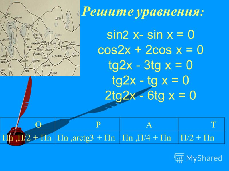 Решите уравнения : sin 2 x- sin x = 0 cos2x + 2cos x = 0 tg2x - 3tg x = 0 tg2x - tg x = 0 2tg2x - 6tg x = 0 O PA T Пn,П/2 + ПnПn,arctg3 + ПnПn,П/4 + ПnП/2 + Пn