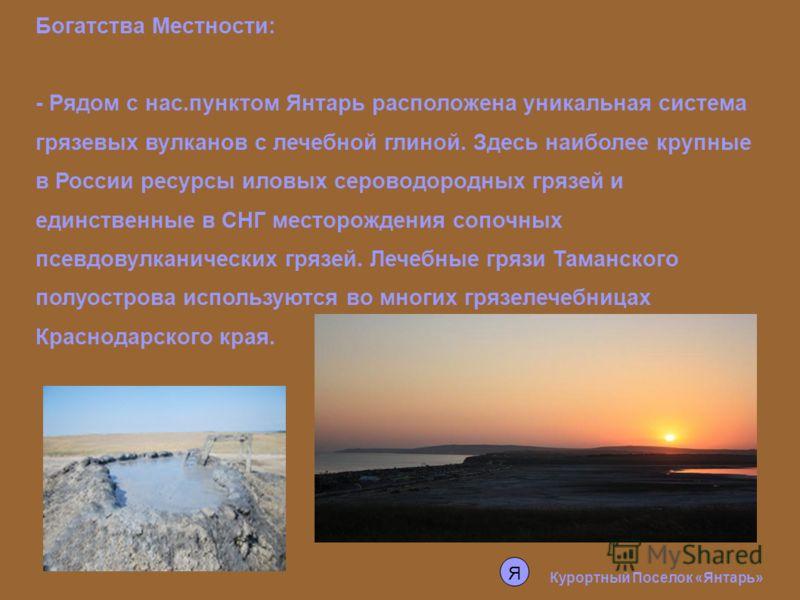 Курортный Поселок «Янтарь» Богатства Местности: - Рядом с нас.пунктом Янтарь расположена уникальная система грязевых вулканов с лечебной глиной. Здесь наиболее крупные в России ресурсы иловых сероводородных грязей и единственные в СНГ месторождения с
