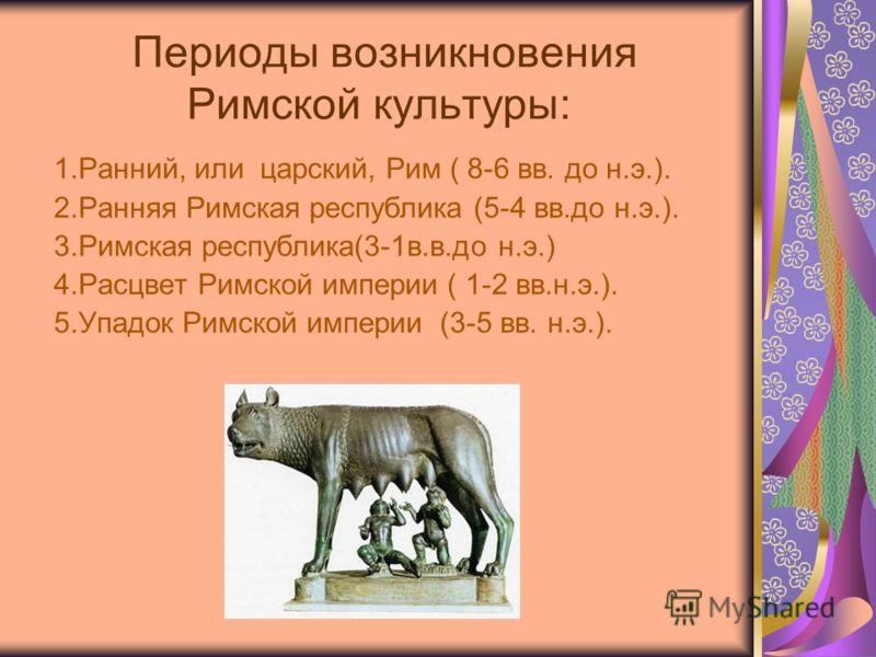 Периоды возникновения Римской культуры: 1.Ранний, или царский, Рим ( 8-6 вв. до н.э.). 2.Ранняя Римская республика (5-4 вв.до н.э.). 3.Римская республика(3-1в.в.до н.э.) 4.Расцвет Римской империи ( 1-2 вв.н.э.). 5.Упадок Римской империи (3-5 вв. н.э.