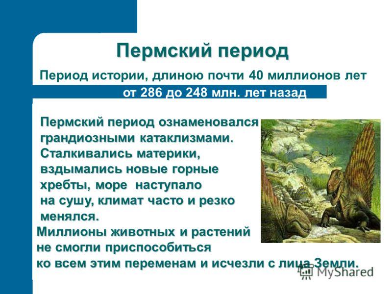 Пермский период Период истории, длиною почти 40 миллионов лет Пермский период ознаменовался Пермский период ознаменовался грандиозными катаклизмами. грандиозными катаклизмами. Сталкивались материки, Сталкивались материки, вздымались новые горные взды