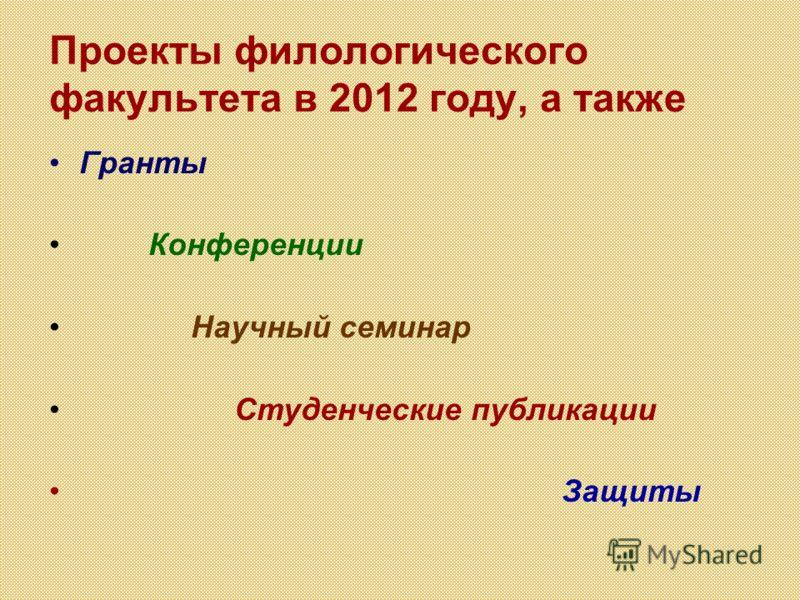 Проекты филологического факультета в 2012 году, а также Гранты Конференции Научный семинар Студенческие публикации Защиты