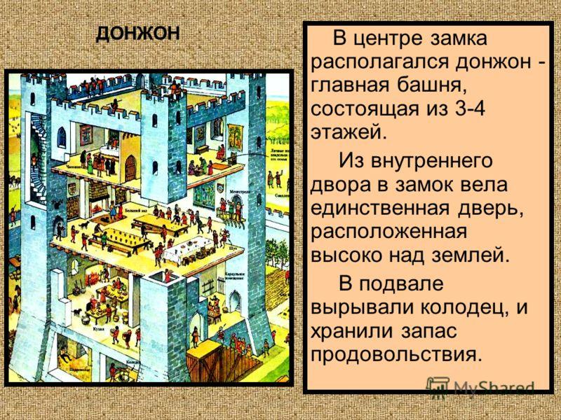 В центре замка располагался донжон - главная башня, состоящая из 3-4 этажей. Из внутреннего двора в замок вела единственная дверь, расположенная высоко над землей. В подвале вырывали колодец, и хранили запас продовольствия. ДОНЖОН
