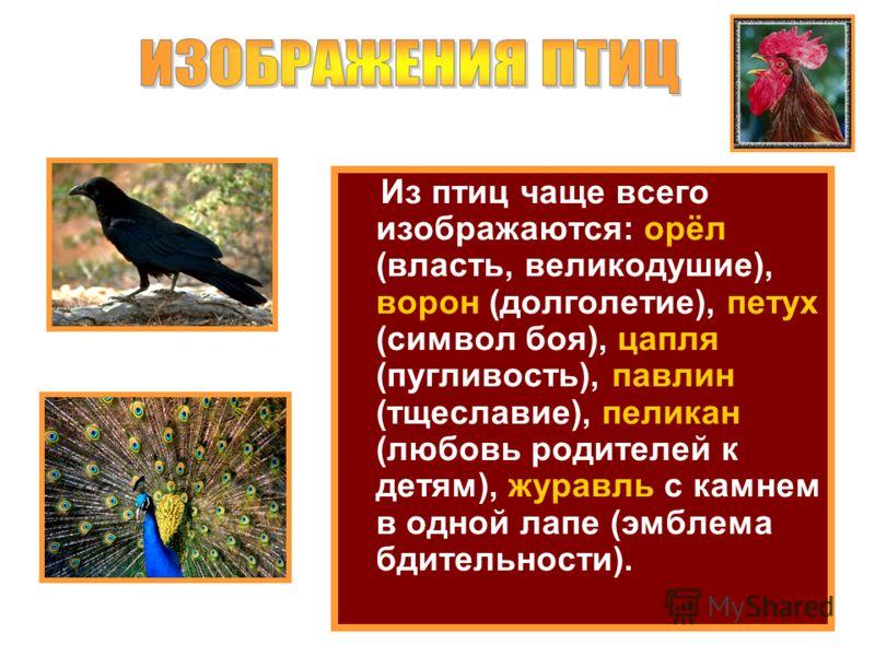 Из птиц чаще всего изображаются: орёл (власть, великодушие), ворон (долголетие), петух (символ боя), цапля (пугливость), павлин (тщеславие), пеликан (любовь родителей к детям), журавль с камнем в одной лапе (эмблема бдительности).