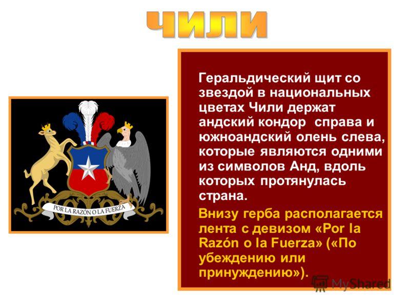 Геральдический щит со звездой в национальных цветах Чили держат андский кондор справа и южноандский олень слева, которые являются одними из символов Анд, вдоль которых протянулась страна. Внизу герба располагается лента с девизом «Por la Razón o la F