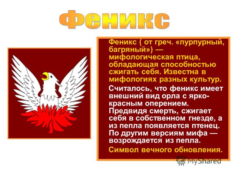 Феникс ( от греч. «пурпурный, багряный») мифологическая птица, обладающая способностью сжигать себя. Известна в мифологиях разных культур. Считалось, что феникс имеет внешний вид орла с ярко- красным оперением. Предвидя смерть, сжигает себя в собстве