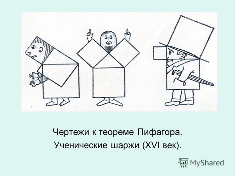 Чертежи к теореме Пифагора. Ученические шаржи (XVI век).