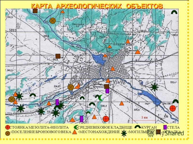 КАРТА АРХЕОЛОГИЧЕСКИХ ОБЪЕКТОВ -СТОЯНКА МЕЗОЛИТА-НЕОЛИТА -СРЕДНЕВЕКОВОЕ КЛАДБИЩЕ -КУРГАН -СТЕЛА -ПОСЕЛЕНИЕ БРОНЗОВОГО ВЕКА -МЕСТОНАХОЖДЕНИЕ -МОГИЛЬНИК -ОГРАДКА 1 км