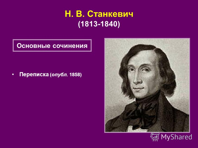 Н. В. Станкевич (1813-1840) Переписка (опубл. 1858) Основные сочинения