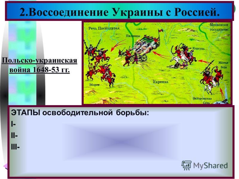 Меню 2.Воссоединение Украины с Россией. ЭТАПЫ освободительной борьбы: I- II- III- Польско-украинская война 1648-53 гг.