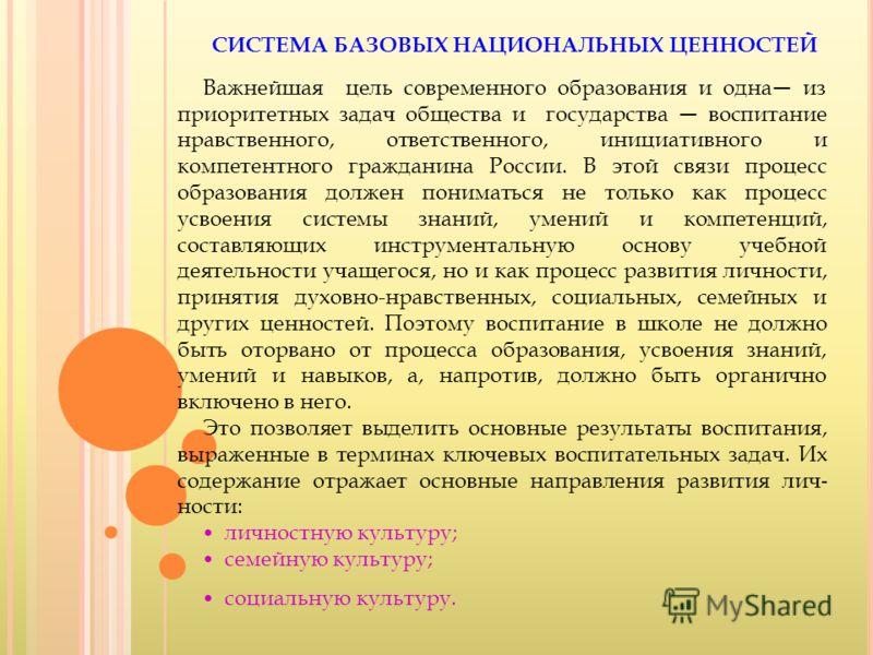 СИСТЕМА БАЗОВЫХ НАЦИОНАЛЬНЫХ ЦЕННОСТЕЙ Важнейшая цель современного образования и одна из приоритетных задач общества и государства воспитание нравственного, ответственного, инициативного и компетентного гражданина России. В этой связи процесс образов