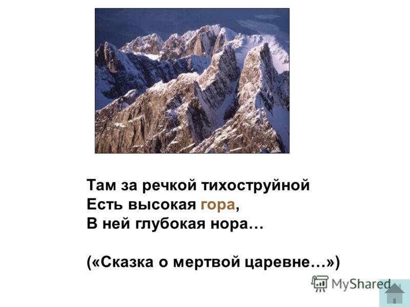 Там за речкой тихоструйной Есть высокая гора, В ней глубокая нора… («Сказка о мертвой царевне…»)