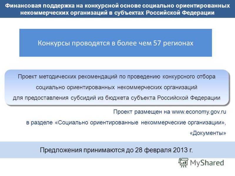 Финансовая поддержка на конкурсной основе социально ориентированных некоммерческих организаций в субъектах Российской Федерации Проект методических рекомендаций по проведению конкурсного отбора социально ориентированных некоммерческих организаций для