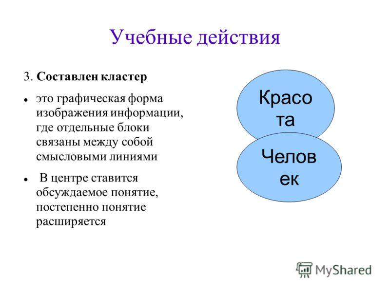 Учебные действия 3. Составлен кластер это графическая форма изображения информации, где отдельные блоки связаны между собой смысловыми линиями В центре ставится обсуждаемое понятие, постепенно понятие расширяется Красо та Челов ек