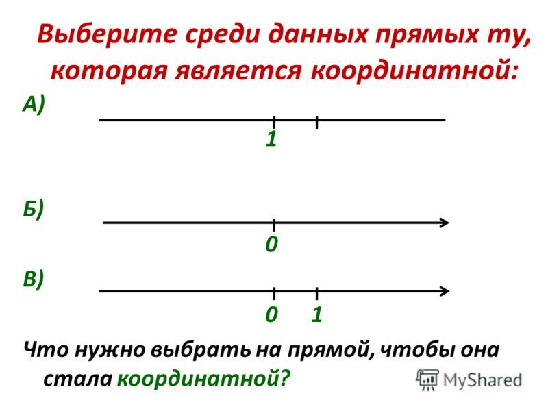 Выберите среди данных прямых ту, которая является координатной: А) 1 Б) 0 В) 0 1 Что нужно выбрать на прямой, чтобы она стала координатной?