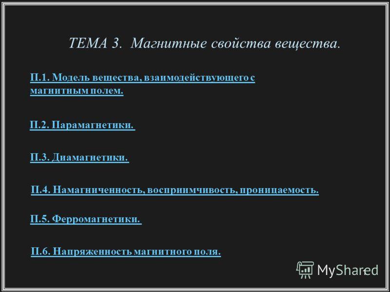 1 ТЕМА 3. Магнитные свойства вещества. П.1. Модель вещества, взаимодействующего с магнитным полем. П.2. Парамагнетики. П.3. Диамагнетики. П.5. Ферромагнетики. П.6. Напряженность магнитного поля. П.4. Намагниченность, восприимчивость, проницаемость.