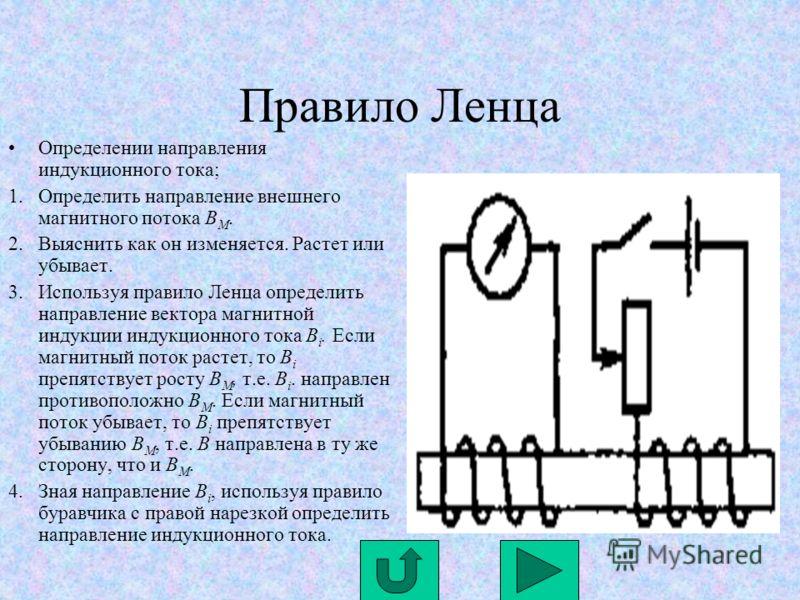 Правило Ленца Определении направления индукционного тока; 1.Определить направление внешнего магнитного потока B М. 2.Выяснить как он изменяется. Растет или убывает. 3.Используя правило Ленца определить направление вектора магнитной индукции индукцион