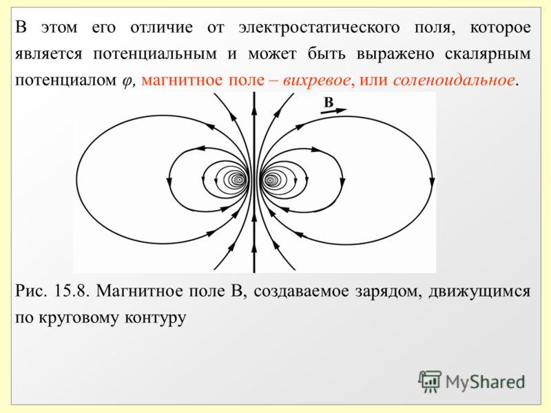 В этом его отличие от электростатического поля, которое является потенциальным и может быть выражено скалярным потенциалом φ, магнитное поле – вихревое, или соленоидальное. Рис. 15.8. Магнитное поле В, создаваемое зарядом, движущимся по круговому кон