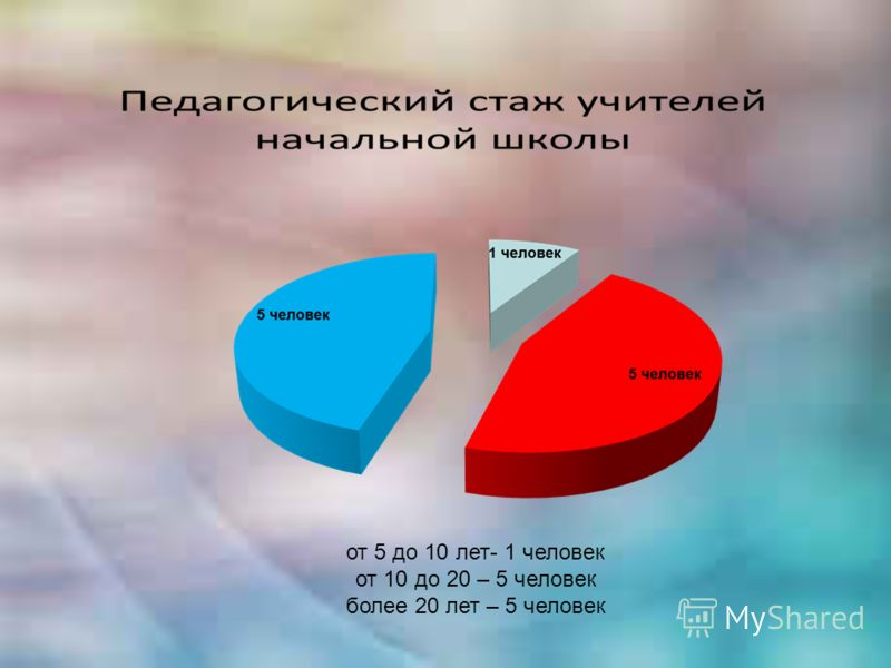 от 5 до 10 лет- 1 человек от 10 до 20 – 5 человек более 20 лет – 5 человек