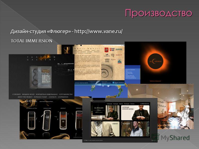 Производство Дизайн-студия «Флюгер» - http://www.vane.ru/ TOTAL IMMERSION