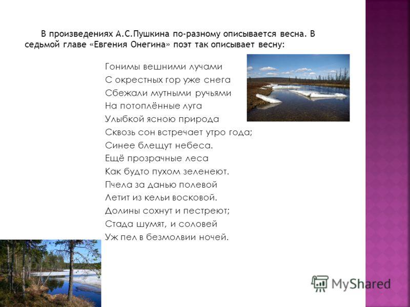 В произведениях А.С.Пушкина по-разному описывается весна. В седьмой главе «Евгения Онегина» поэт так описывает весну: Гонимы вешними лучами С окрестных гор уже снега Сбежали мутными ручьями На потоплённые луга Улыбкой ясною природа Сквозь сон встреча