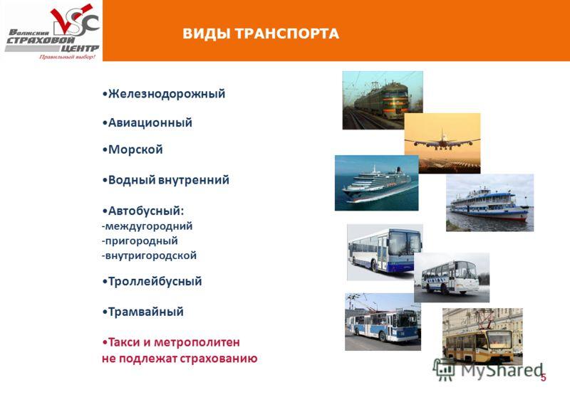 5 ВИДЫ ТРАНСПОРТА Такси и метрополитен не подлежат страхованию Железнодорожный Авиационный Морской Водный внутренний Автобусный: -междугородний -пригородный -внутригородской Троллейбусный Трамвайный