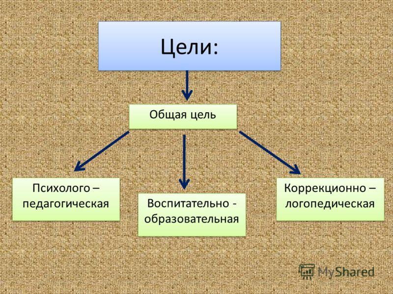 Цели: Психолого – педагогическая Коррекционно – логопедическая Общая цель Воспитательно - образовательная