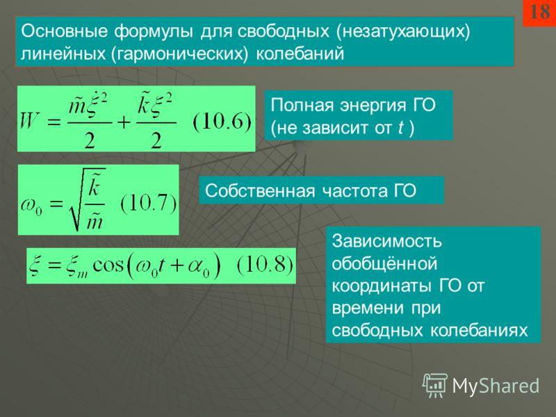 1818 Основные формулы для свободных (незатухающих) линейных (гармонических) колебаний Полная энергия ГО (не зависит от t ) Собственная частота ГО Зависимость обобщённой координаты ГО от времени при свободных колебаниях