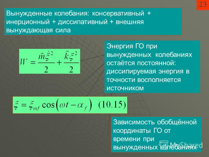 2323 Вынужденные колебания: консервативный + инерционный + диссипативный + внешняя вынуждающая сила Зависимость обобщённой координаты ГО от времени при вынужденных колебаниях Энергия ГО при вынужденных колебаниях остаётся постоянной: диссипируемая эн